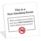 Non-Smoking Room With $250 Smoking Cleaning Fee Easel. (50/Pkg)
